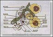 Der Chronograph wurde per Drücker angehalten. Der Blockierhebel hat sich an das Zentrumsrad gelegt.